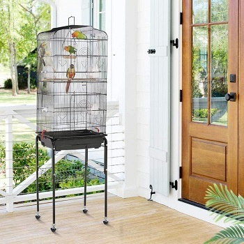 Topeakmart Large Parakeet Bird Cage on Wheels for Budgies Finches Canaries Lovebirds
