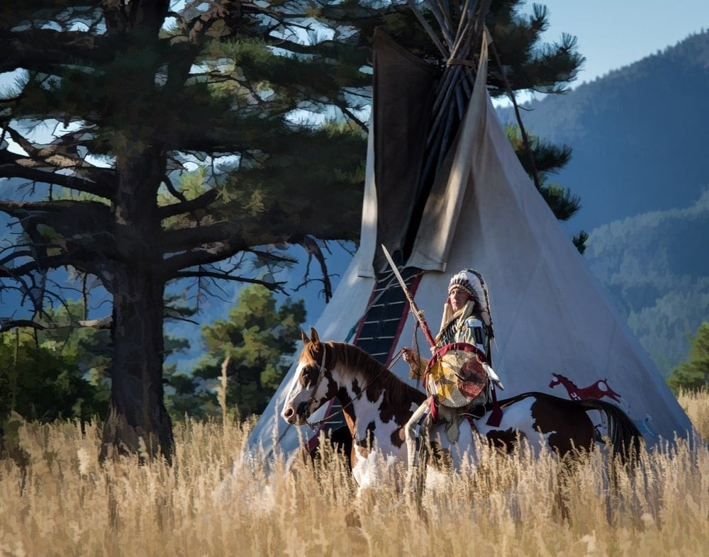 horse with teepee