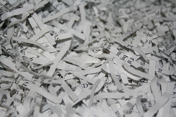 Shredded paper close up