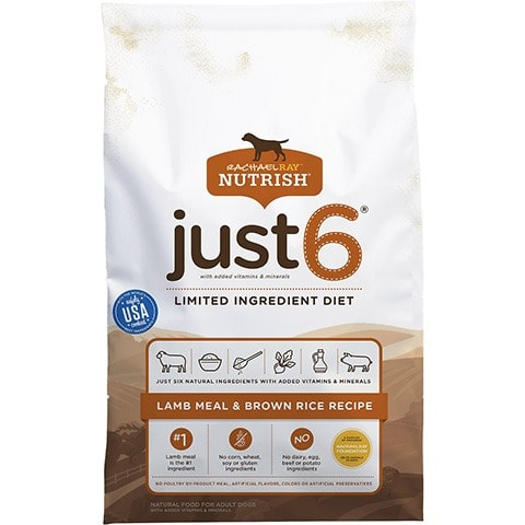 Rachael Ray Nutrish Just 6 Natural Lamb Meal & Brown Rice Limited Ingredient Recipe Dry Dog Food