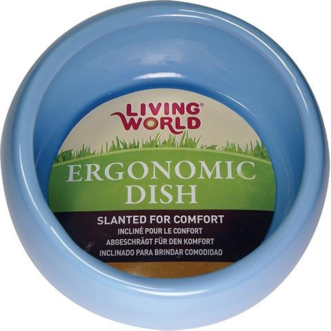 Living World Blue Ergonomic Small Pet Bowl