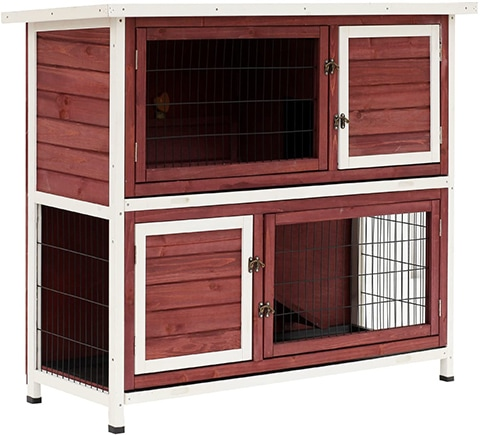 PawHut D51-086 Elevated Stacked Wooden Rabbit Cage