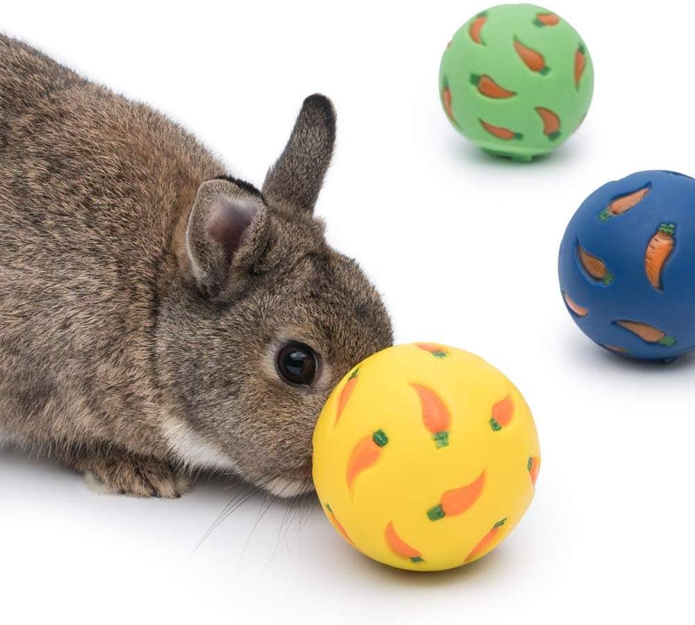 Rabbit playing Niteangel Small Animal Treat Ball