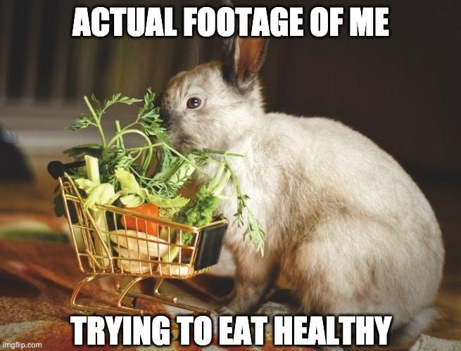 rabbit memes eating healthy