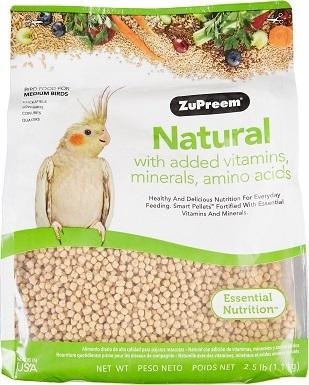 ZuPreem Natural with Vitamins, Minerals & Amino Acids Medium Bird Food, 2.5-lb bag