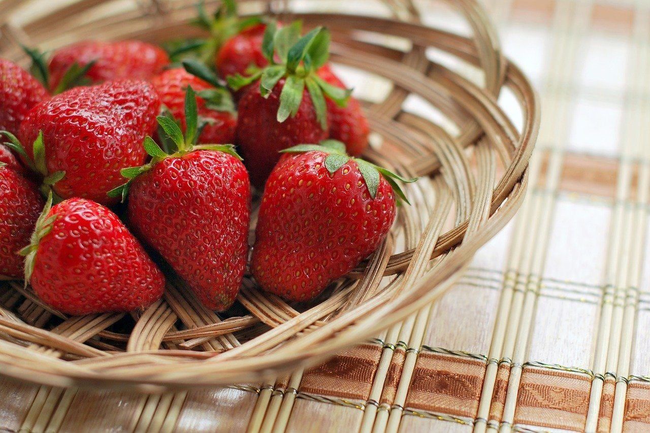 a basket of strawberries