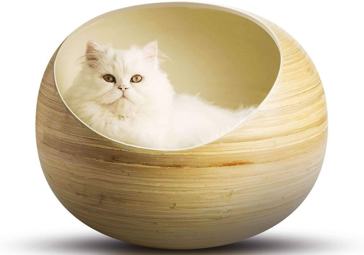 Fhasso Luxury Bamboo Pod Cat Bed