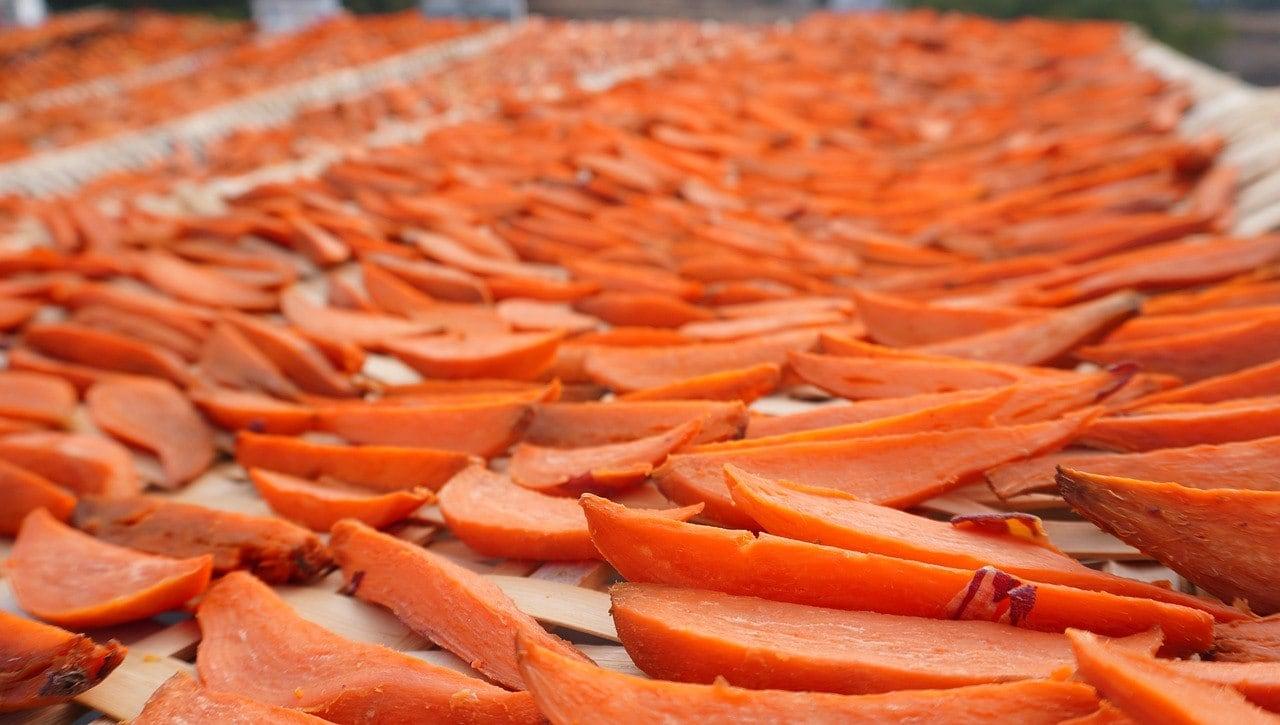 drying sweet potatoes