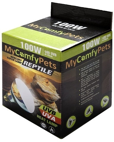 MyComfyPets UVB Light and UVA 2-in-1 Reptile Bulb 100W for Bearded Dragons and All Reptiles