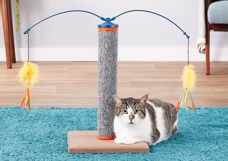 SmartyKat Scratch 'N Spin Carpet Post Cat Scratcher with Wands Cat Toy