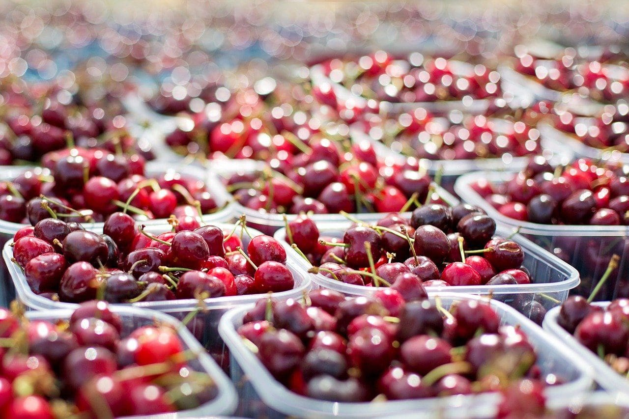 tubs of cherries