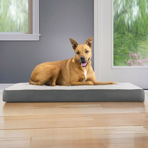 FurHaven Faux Sheepskin & Suede Deluxe Orthopedic Cat & Dog Bed w:Removable Cover