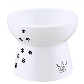 Necoichi Ceramic Elevated Cat Water Bowl, White Paw Print