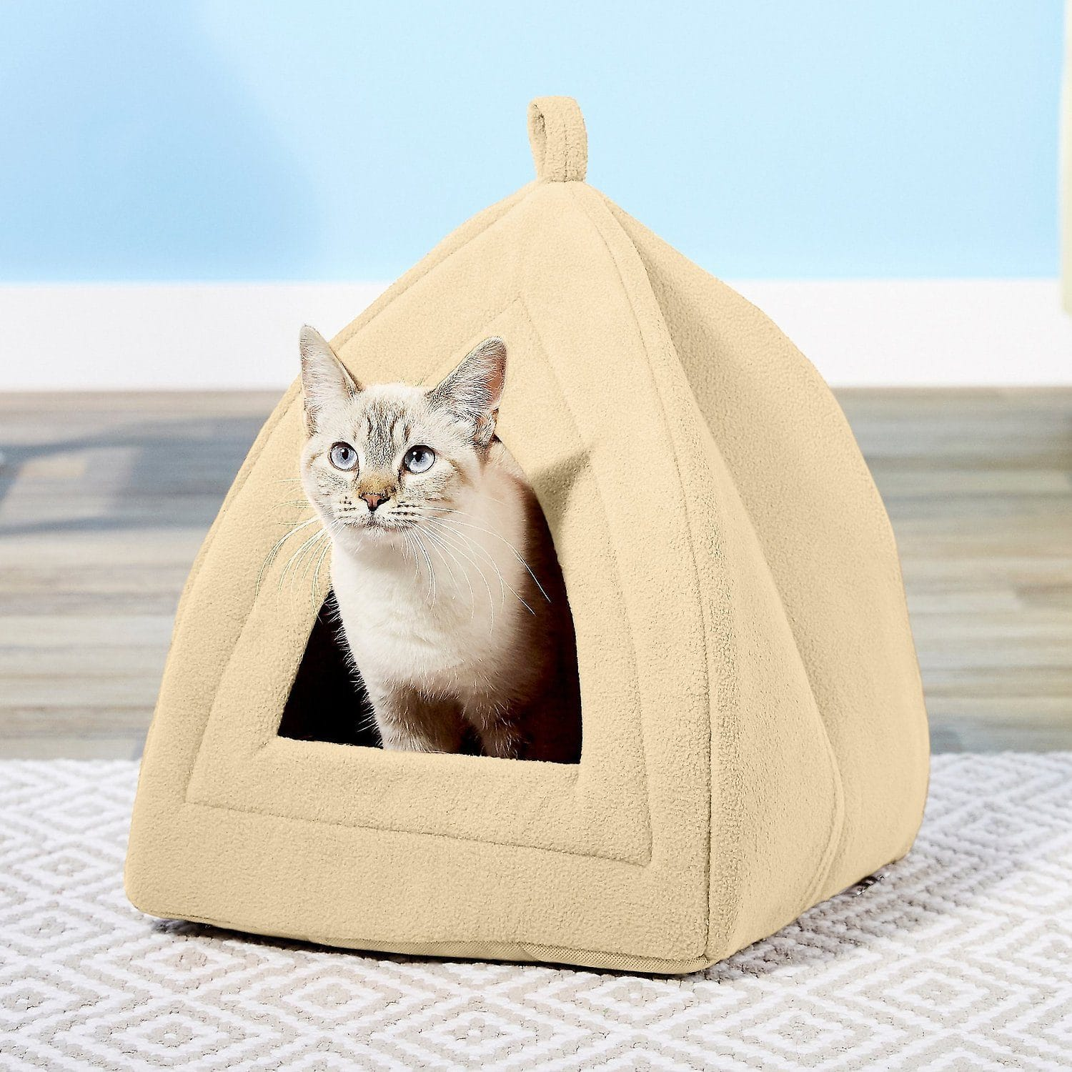 cat in Petmaker Cozy Kitty Tent Igloo Plush Cat Bed