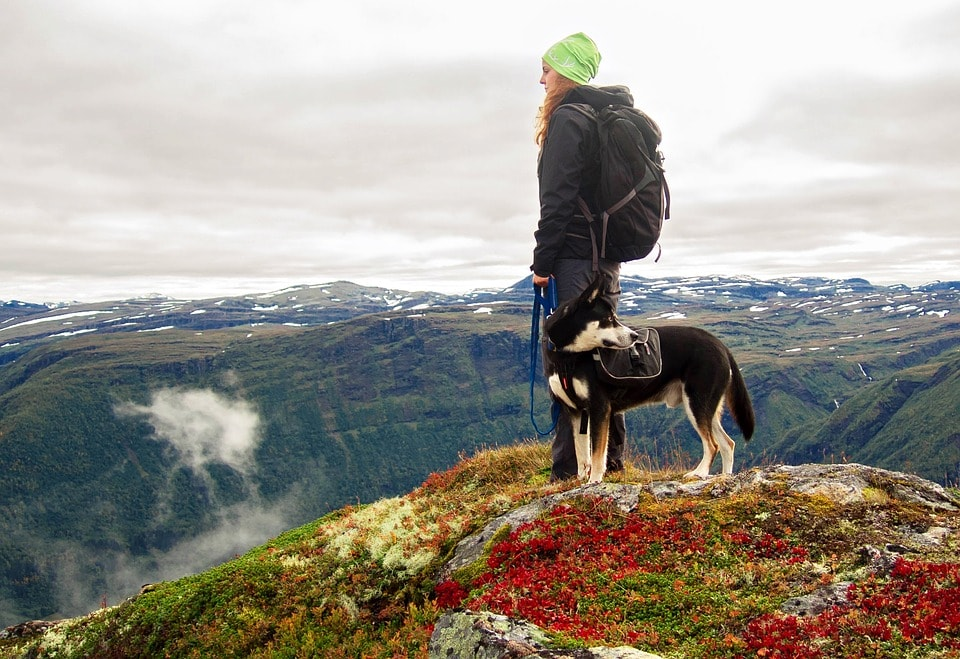 woman and dog hiked