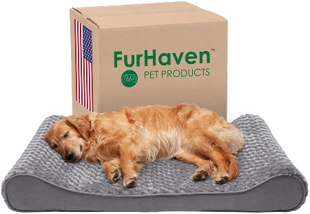 Furhaven Pet Plush Ergonomic Orthopedic Dog Bed