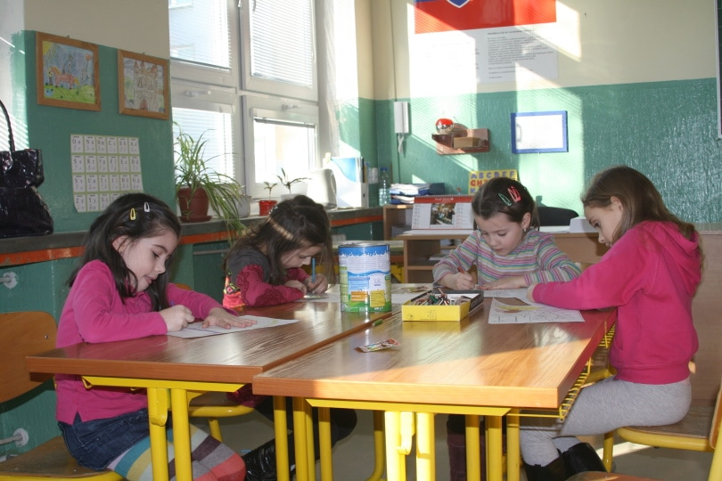 girl students in classroom
