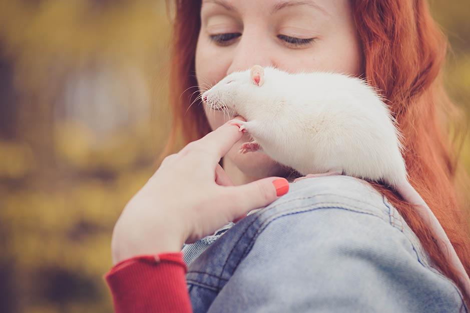 rat in girl's shoulder