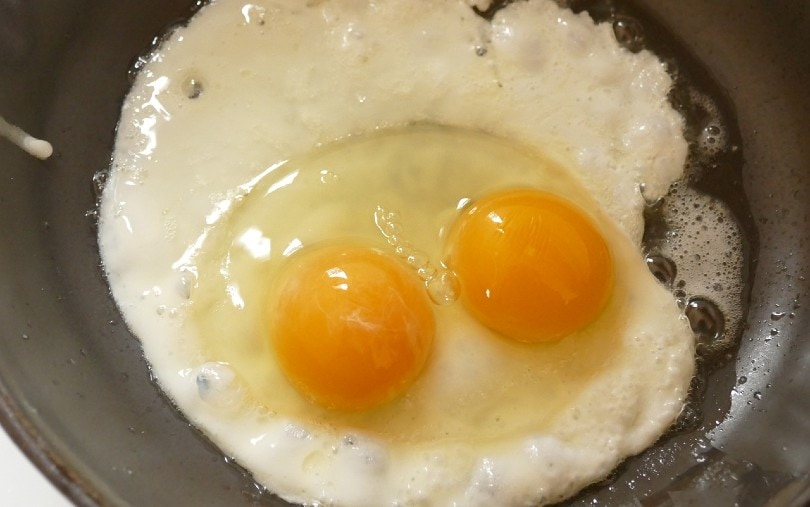 fried egg with two yolks