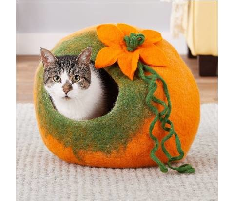 Earthtone Solutions Radiant Realm Felted Wool Cat Cave Bed (2)